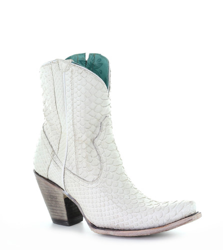 Corral White Python Zipper Ankle Boot A3790 Manufacturer Image