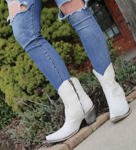 Corral White Python Zipper Ankle Boot A3790 Front