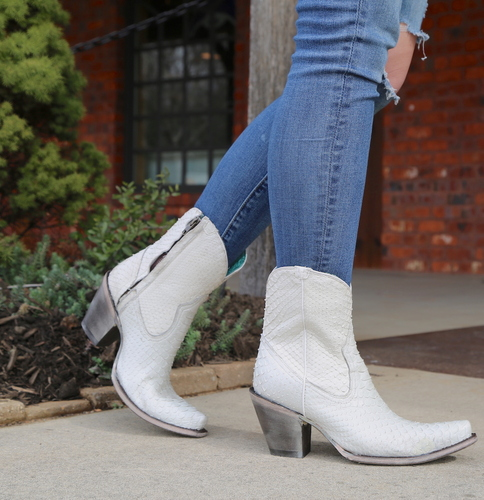 Corral White Python Zipper Ankle Boot A3790 Picture