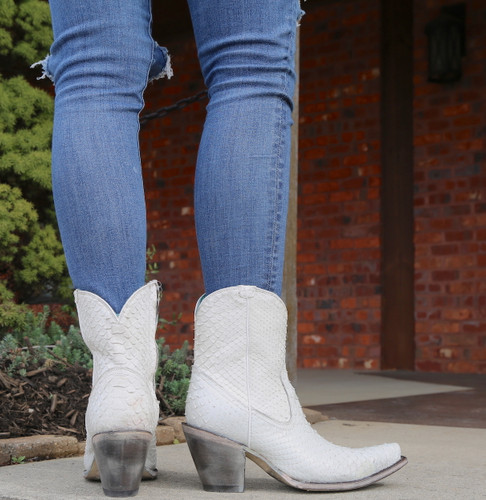 Corral White Python Zipper Ankle Boot A3790 Heel