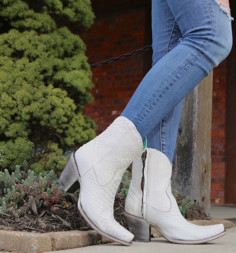 Corral White Python Zipper Ankle Boot A3790 Side