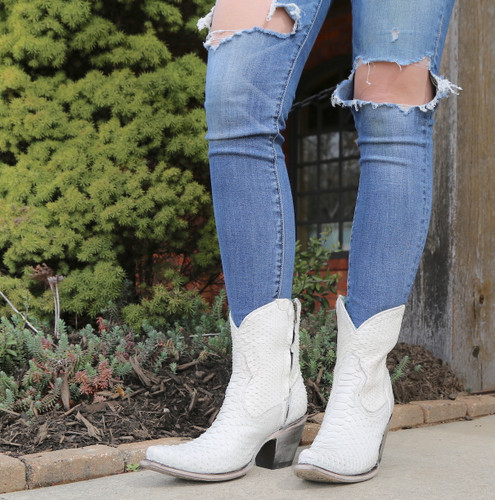 Corral White Python Zipper Ankle Boot A3790 Image