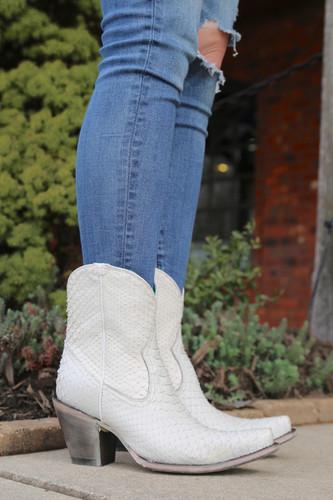 Corral White Python Zipper Ankle Boot A3790 Photo