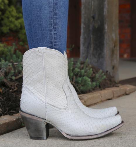 Corral White Python Zipper Ankle Boot A3790 Detail
