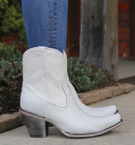 Corral White Python Zipper Ankle Boot A3790 Detail