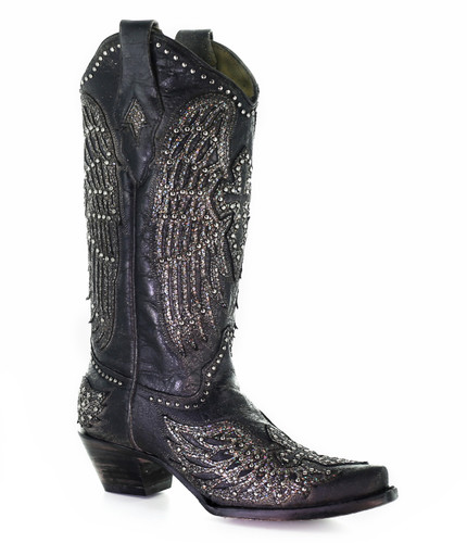 Corral Black Cross and Wings Boots A3571B Picture