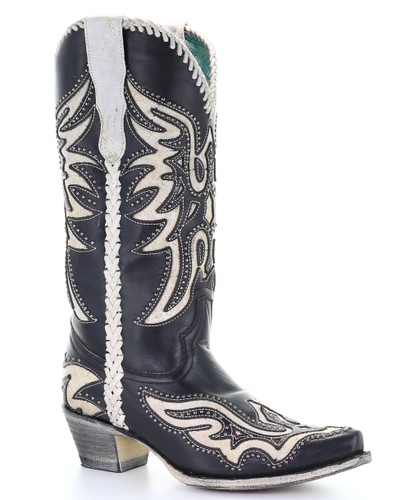 Corral Black White Inlay and Studs Woven Boots E1543 Manufacturer Photo