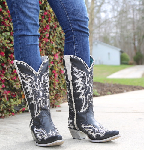 Corral Black White Inlay and Studs Woven Boots E1543 Front