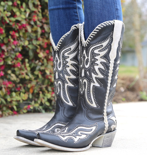 Corral Black White Inlay and Studs Woven Boots E1543 Image