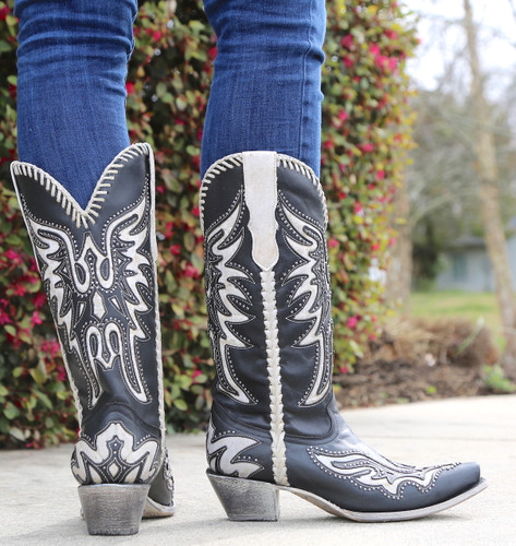 Corral Black White Inlay and Studs Woven Boots E1543 Heel
