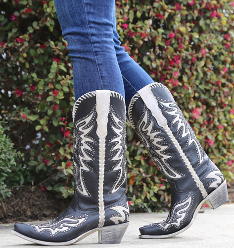 Corral Black White Inlay and Studs Woven Boots E1543 Walk