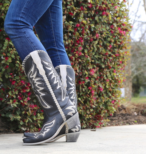 Corral Black White Inlay and Studs Woven Boots E1543 Photo