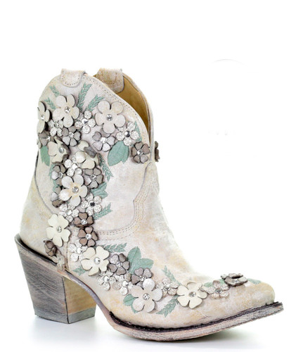 Corral White Floral Overlay Ankle Boot A3678 Picture