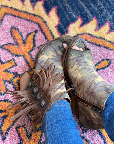Liberty Black Camo Concho Fringe Peep Toe Boot LB712807 Image