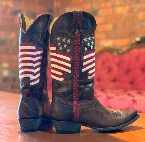 Old Gringo Eleanor Flag Brass Red Boots L2961-4 Heel
