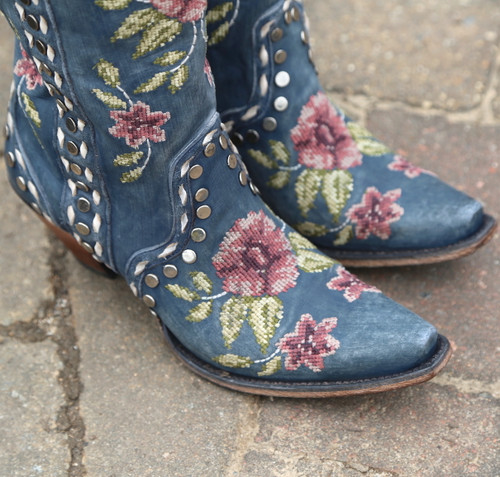 Junk Gypsy by Lane Wild Stitch Navy Boots JG0053C Embroidery