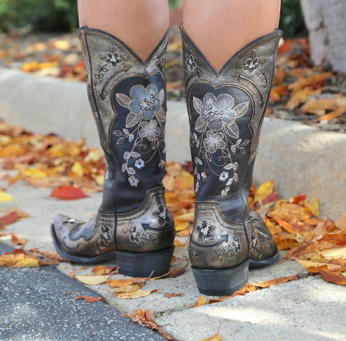 Old Gringo Bonnie Pippin Glam Black Gold Boots L3325-2 Heel