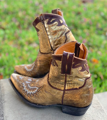 Old Gringo Eagle Beaded Gold Boots BL3295-1 Heel