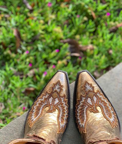 Old Gringo Eagle Beaded Gold Boots BL3295-1 Toe