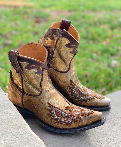 Old Gringo Eagle Beaded Gold Boots BL3295-1 Zipper