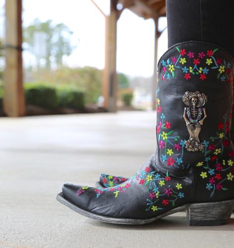 "Old Gringo Katrina Black Multi 10"" Boots L3388-1 Detail"