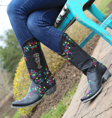 "Old Gringo Katrina Black Multi 13"" Boots L3379-4 Toe"