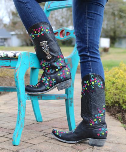 "Old Gringo Katrina Black Multi 13"" Boots L3379-4 Heel"