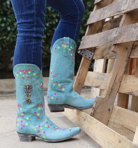 "Old Gringo Katrina Turquoise Multi 13"" Boots L3379-3 Photo"