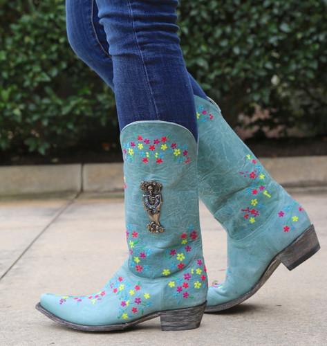 "Old Gringo Katrina Turquoise Multi 13"" Boots L3379-3 Walk"