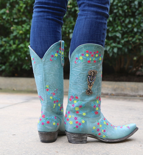 "Old Gringo Katrina Turquoise Multi 13"" Boots L3379-3 Heel"
