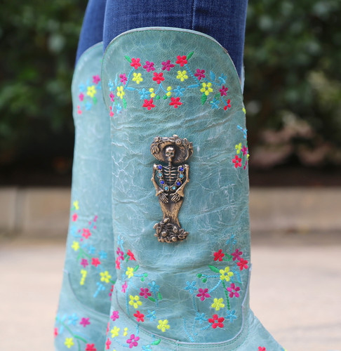 "Old Gringo Katrina Turquoise Multi 13"" Boots L3379-3 Detail"