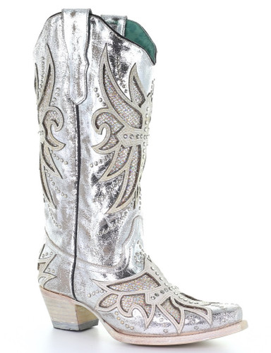 Corral Silver Cross Laser Inlay Embroidery Studs Boots E1546 Picture