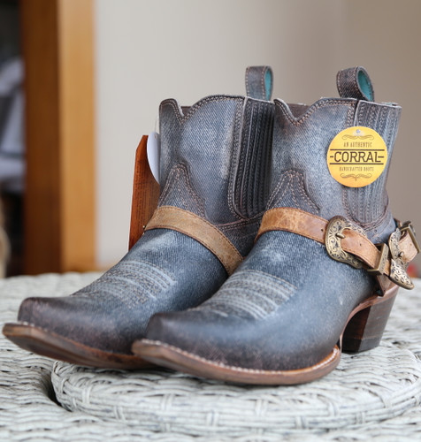 Corral Navy Blue Harness Ankle Boot C3546 Toe