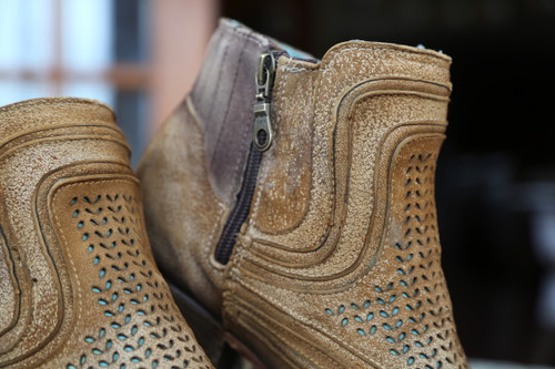 Corral Sand Laser Ankle Boot C3143 Zipper