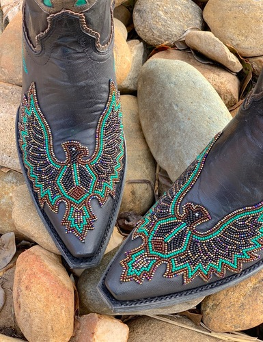 Old Gringo Eagle Beaded Black Boots BL3295-2 Toe