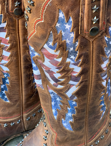 Lane Old Glory Boots Burnt Caramel LB0414D Detail