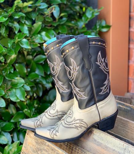 Corral Black Bone Embroidery and Studs Boots E1463 Photo