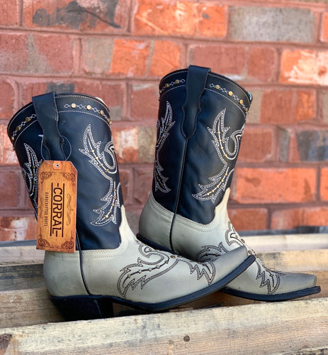 Corral Black Bone Embroidery and Studs Boots E1463 Image