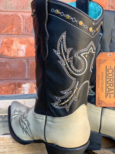 Corral Black Bone Embroidery and Studs Boots E1463 Detail