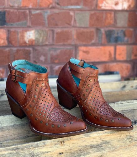 Corral Cognac Studs and Woven Mule E1404 Photo