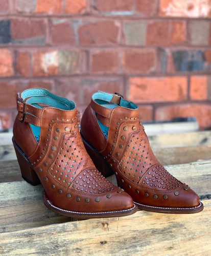 Corral Cognac Studs and Woven Mule E1404 Image