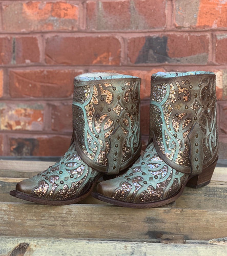 Corral Mint Flipped Shaft Glitter Ankle Boot C3433 Image