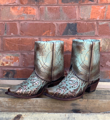 Corral Mint Flipped Shaft Glitter Ankle Boot C3433 Photo
