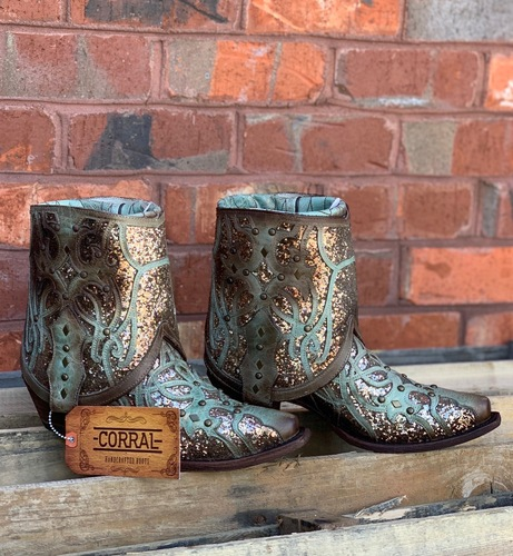 Corral Mint Flipped Shaft Glitter Ankle Boot C3433 Picture
