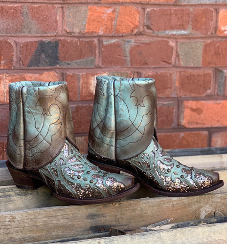 Corral Mint Flipped Shaft Glitter Ankle Boot C3433 No Cuff