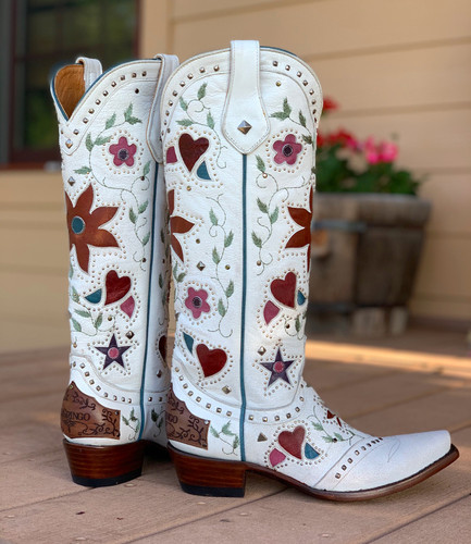 Old Gringo Lovers and Flowers White L3351-3 Heel
