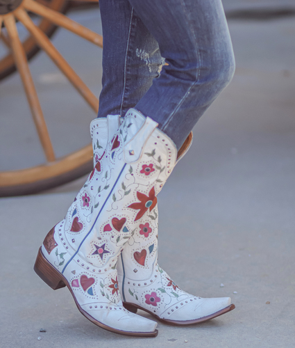 "Old Gringo Lovers and Flowers Boots 15"" White L3351-3 Picture"