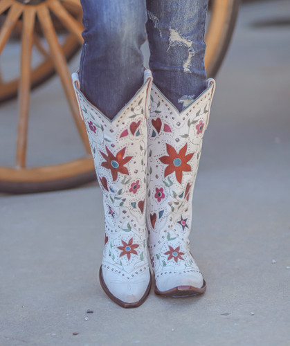 "Old Gringo Lovers and Flowers Boots 15"" White L3351-3 Image"