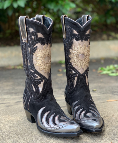 Old Gringo Whitney Black Silver Boots L209-14 Flower