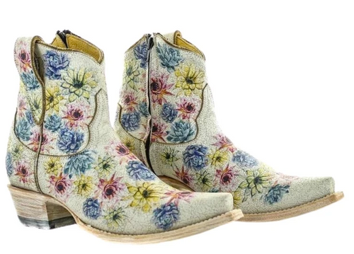 Yippee by Old Gringo Saguaro Flower Crackled Taupe Boots YBL408-1 Picture